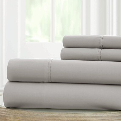 Solid Microfiber Sheet Set Size: King, Color: Gray