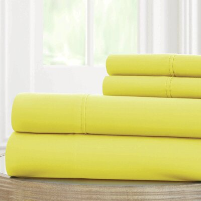 Solid Microfiber Sheet Set Size: Full, Color: Yellow
