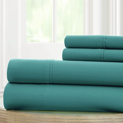 Solid Microfiber Sheet Set Size: King, Color: Teal