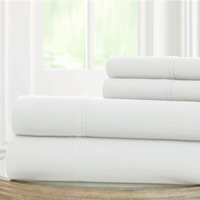 Solid Microfiber Sheet Set Size: Twin, Color: White