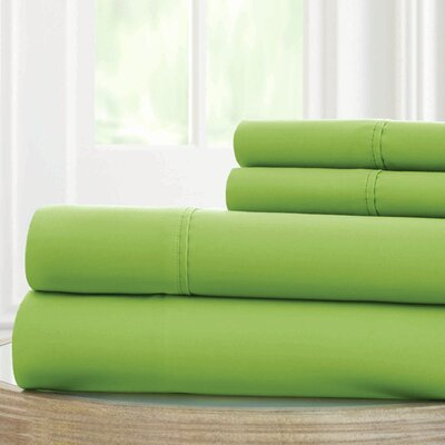 Solid Microfiber Sheet Set Size: Queen, Color: Greenery