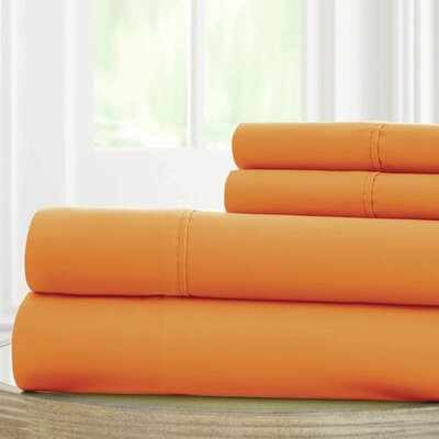 Solid Microfiber Sheet Set Size: King, Color: Paradise Orange