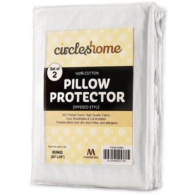 Cotton Zippered Pillow Protector Size: King
