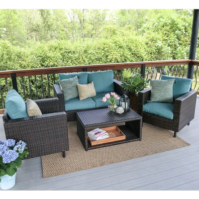 Draper 4 Piece Wicker Sofa Deep Seating Group with Cushions Fabric: Blue