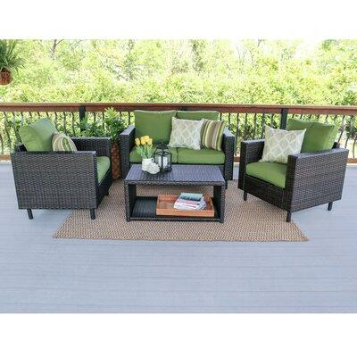 Draper 4 Piece Wicker Sofa Deep Seating Group with Cushions Fabric: Green
