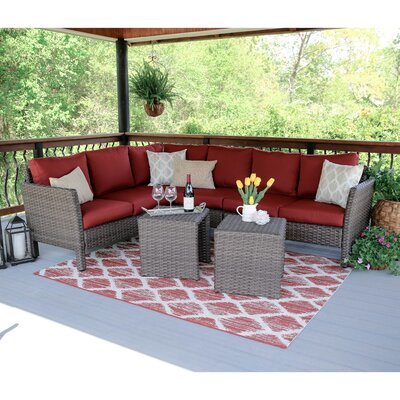 Canton 6 Piece Wicker Sectional Deep Seating Group with Cushions Fabric: Red