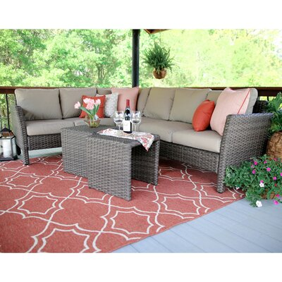 Canton 6 Piece Wicker Sectional Deep Seating Group with Cushions Fabric: Tan