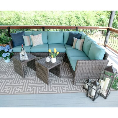 Canton 6 Piece Wicker Sectional Deep Seating Group with Cushions Fabric: Blue