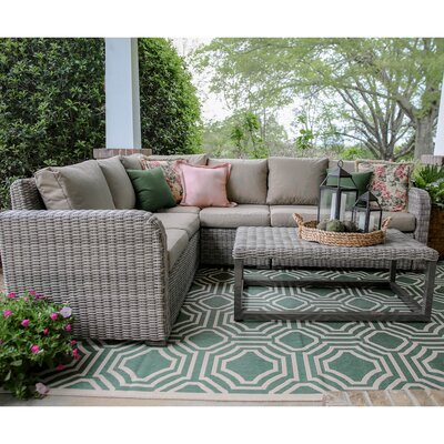 Forsyth 5 Piece Wicker Sectional Deep Seating Group with Cushions Fabric: Tan