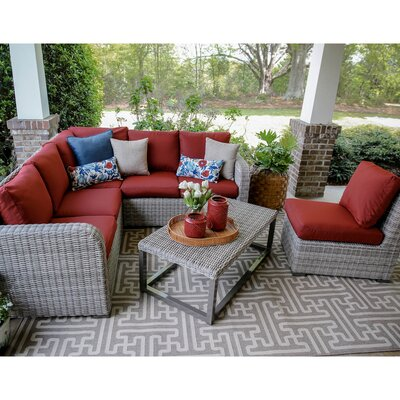 Forsyth 5 Piece Wicker Sectional Deep Seating Group with Cushions Fabric: Red