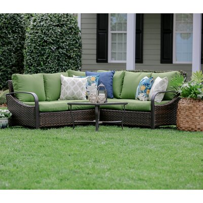 Trenton 4 Piece Wicker Sectional Deep Seating Group with Cushions Fabric: Green