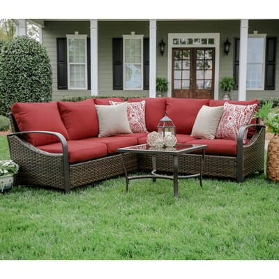Trenton 4 Piece Wicker Sectional Deep Seating Group with Cushions Fabric: Red