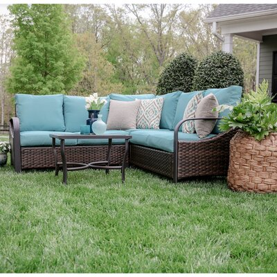 Trenton 4 Piece Wicker Sectional Deep Seating Group with Cushions Fabric: Blue