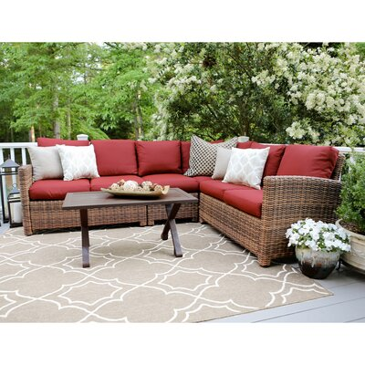 Dalton 5 Piece Wicker Sectional Deep Seating Group with Cushions Fabric: Red