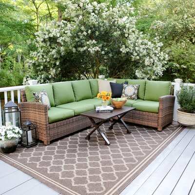 Dalton 5 Piece Wicker Sectional Deep Seating Group with Cushions Fabric: Green