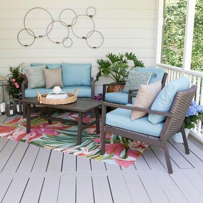Preston 4 Piece Wicker Sofa Deep Seating Group with Cushions Fabric: Blue