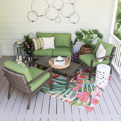 Preston 4 Piece Wicker Sofa Deep Seating Group with Cushions Fabric: Green