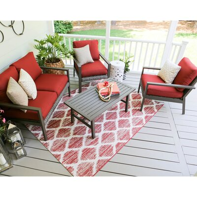 Preston 4 Piece Wicker Sofa Deep Seating Group with Cushions Fabric: Red