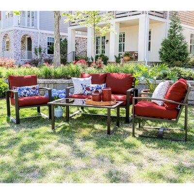 Jasper 4 Piece Aluminum Sofa Deep Seating Group with Cushions Fabric: Red