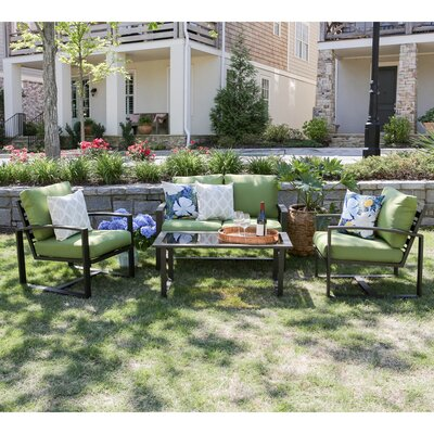 Jasper 4 Piece Aluminum Sofa Deep Seating Group with Cushions Fabric: Green