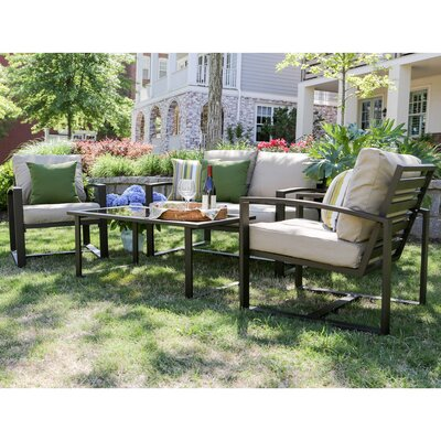 Jasper 4 Piece Aluminum Sofa Deep Seating Group with Cushions Fabric: Tan