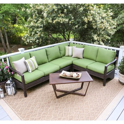 Augusta 5 Piece Wicker Sectional Deep Seating Group with Cushions Fabric: Green