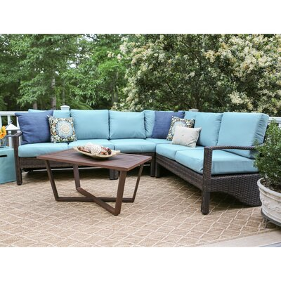 Augusta 5 Piece Wicker Sectional Deep Seating Group with Cushions Fabric: Blue