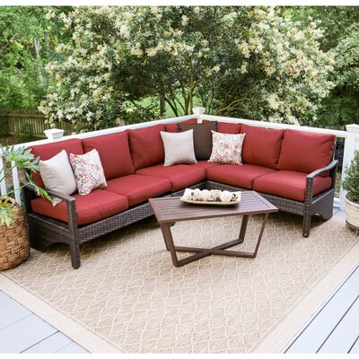 Augusta 5 Piece Wicker Sectional Deep Seating Group with Cushions Fabric: Red