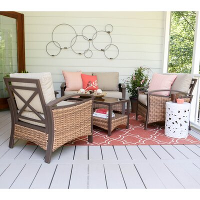 Thompson 4 Piece Deep Seating Group with Cushions Fabric: Tan