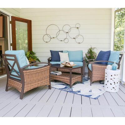 Thompson 4 Piece Deep Seating Group with Cushions Fabric: Blue