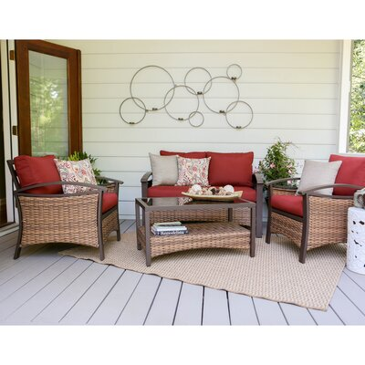Thompson 4 Piece Deep Seating Group with Cushions Fabric: Red