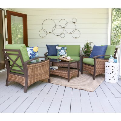 Thompson 4 Piece Deep Seating Group with Cushions Fabric: Green