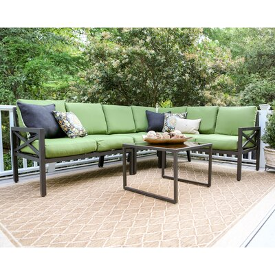Blakely 5 Piece Aluminum Sectional Seating Group with Cushions Fabric: Green