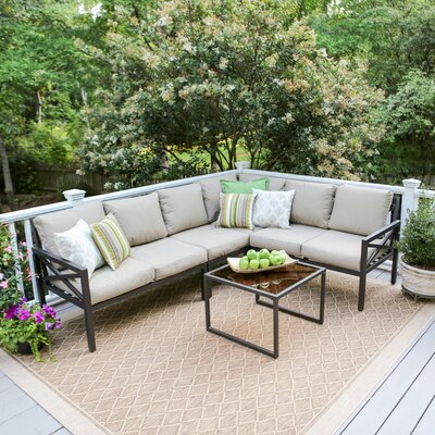 Blakely 5 Piece Aluminum Sectional Seating Group with Cushions Fabric: Tan