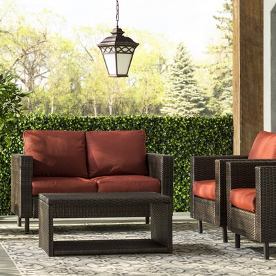 Draper 4 Piece Wicker Sofa Deep Seating Group with Cushions Fabric: Red