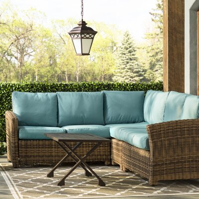 Dalton 5 Piece Wicker Sectional Deep Seating Group with Cushions Fabric: Blue