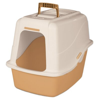 18.9 x 15.1 x 17 Large Hooded Litter Pan Color: White/Tan