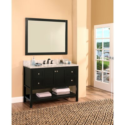 Hampton Bay 48 Single Bathroom Vanity with Mirror Base Finish: Black