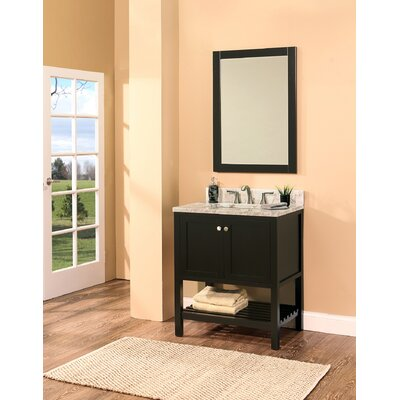 Hampton Bay 30 Single Bathroom Vanity with Mirror Base Finish: Black