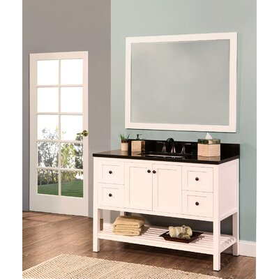 Hampton Bay 48 Single Bathroom Vanity with Mirror Base Finish: White