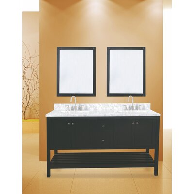 Hampton Bay 60 Double Bathroom Vanity with Mirror Base Finish: Black
