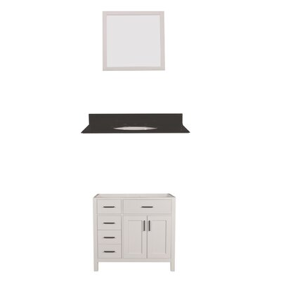 Arezzo 36 Single Bathroom Vanity with Mirror Base Finish: White