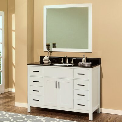 Arezzo 48 Single Bathroom Vanity with Mirror Base Finish: White