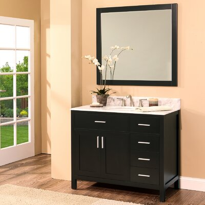 Arezzo 42 Single Bathroom Vanity with Mirror Base Finish: Black