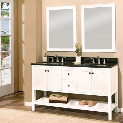 Hampton Bay 60 Double Bathroom Vanity with Mirror Base Finish: White