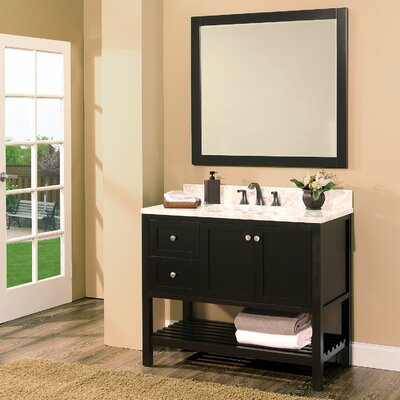 Hampton Bay 42 Single Bathroom Vanity with Mirror Base Finish: Black
