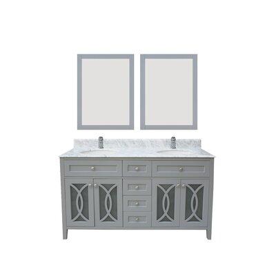 Margaret Garden 60 Double Bathroom Vanity Set Top / Base Finish: Gray / Carrara White