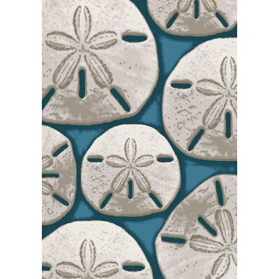 Coastal Ocean Treasure Aqua Area Rug Rug Size: Rectangle 4 x 5