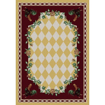 Novelty High Country Rooster Yellow Area Rug Rug Size: Rectangle 5 x 8