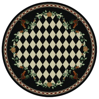 Novelty High Country Rooster Black Area Rug Rug Size: Round 8